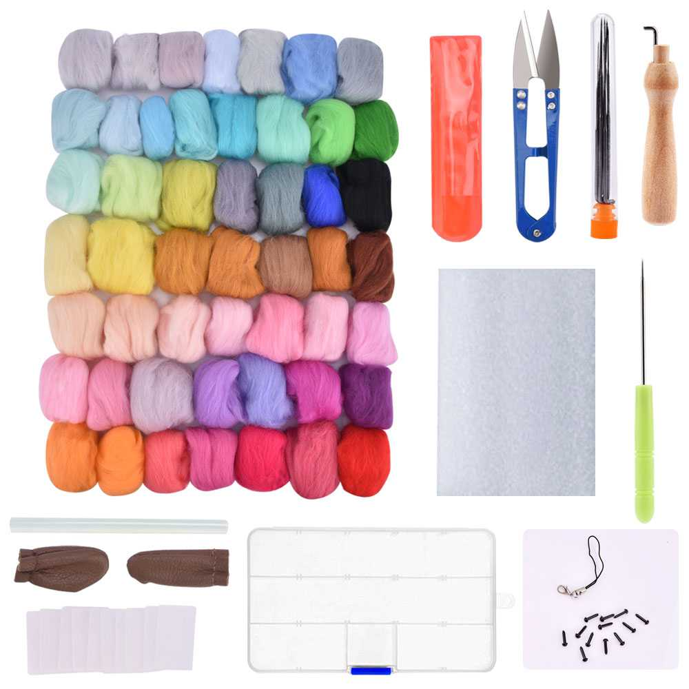 50pcs Wool Felt Fiber Needle Felting Wool Material 70s Poke Roving Wools Felt for Needlework Accessory DIY Craft Project Supply (2)_compressed