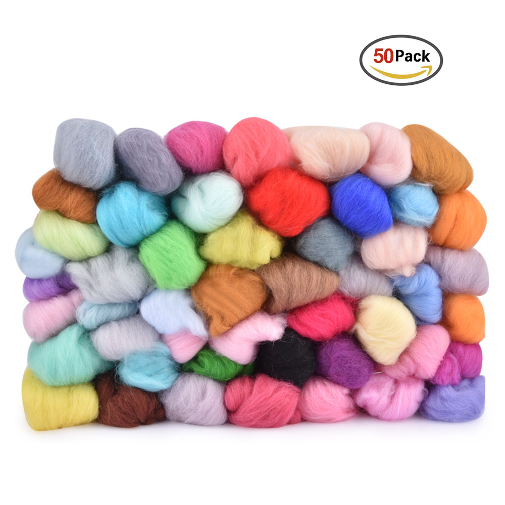 Wool Felt Fiber Needle Felting Wool Material 70s Poke Roving Wools Felt for Needlework Accessory DIY Craft Project Supply (11)