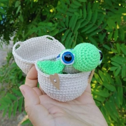 Crochet turtle in the egg