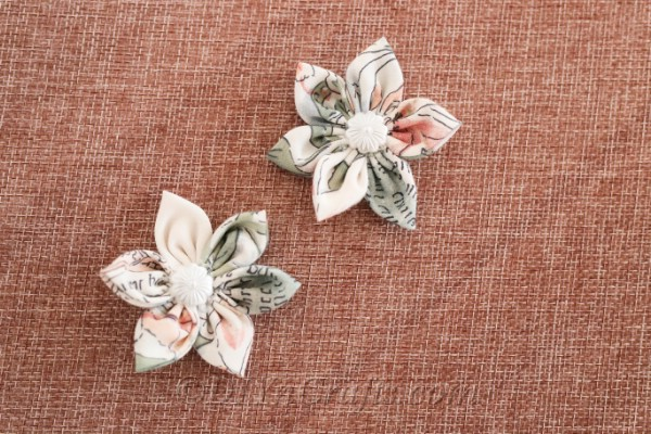 A handmade fabric flower placed on the table.