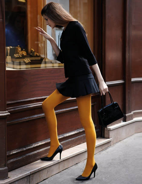 all black yellow tights