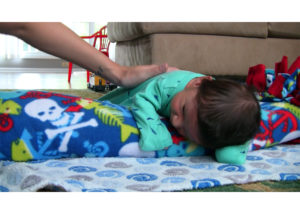 Tummy Time with rolled towel