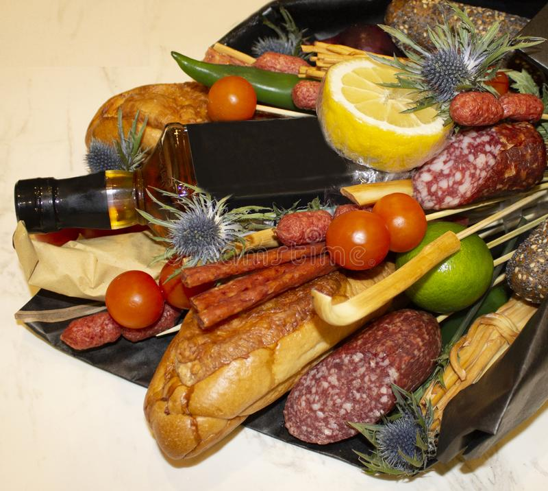 Bouquet of croissant and different sausages stock photos