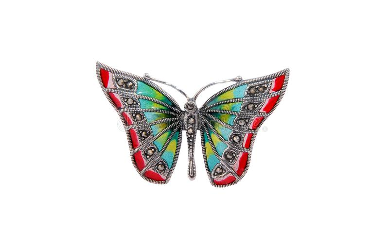 Butterfly brooch jewelry on white royalty free stock photography