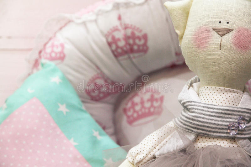 Child`s room. Materials for creative work. stock photo