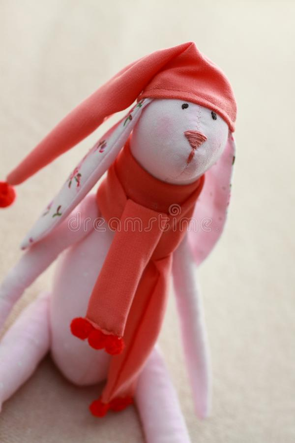 Children`s toy pink hare Tilda stock image
