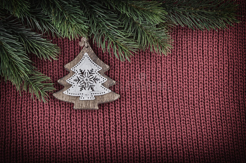 Christmas Vintage Decoration on Wool Knitted Background royalty free stock photo