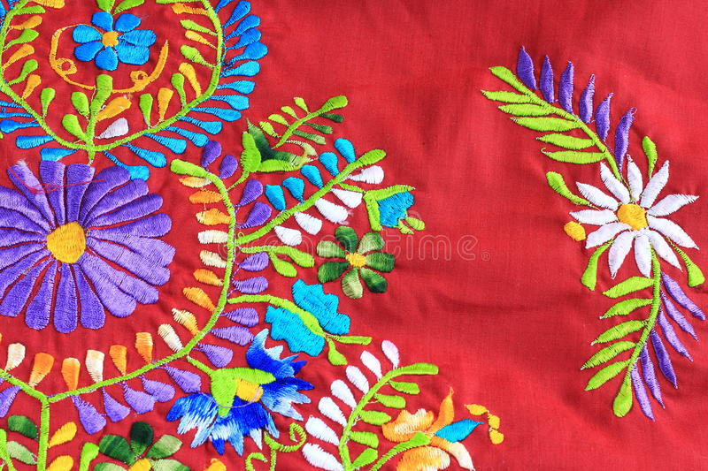 Close up of Mexican Embroidery design. Close up of floral Mexican embroidery design stock photos