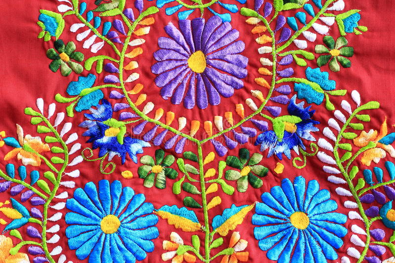 Close up of Mexican Embroidery design. Close up of floral Mexican embroidery design royalty free stock photos