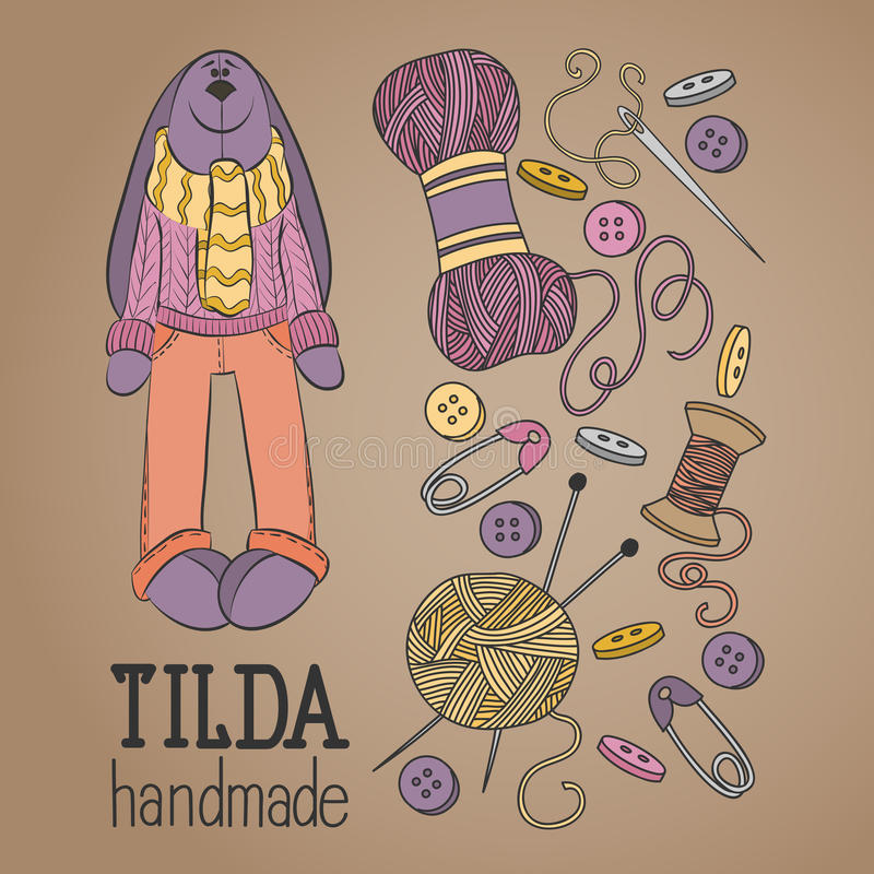 Colorful vector hand drawn set of object Hand Made Tilde doll hare cartoon doodle royalty free illustration