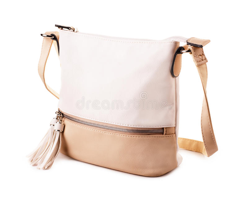 Elegant leather beige woman`s handbag stock images