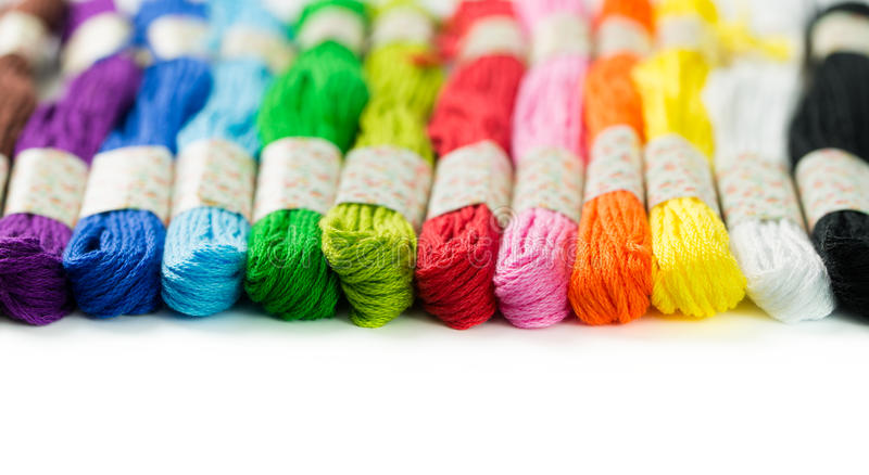Embroidery thread. Colorful embroidery thread isolated on white background stock photos