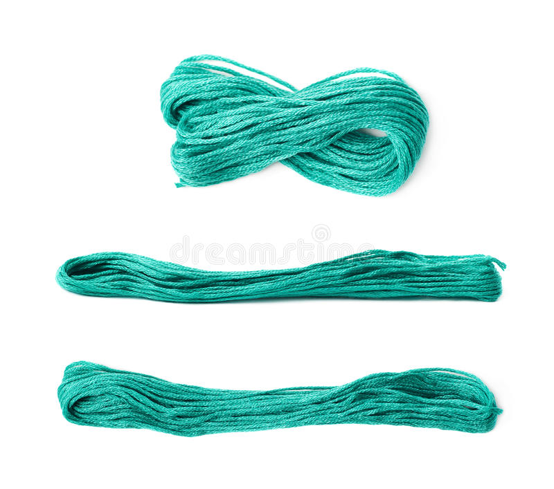 Embroidery thread yarn isolated. Over the white background, set of three different foreshortenings stock photo