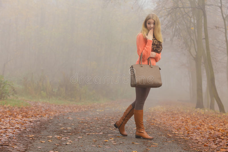 Fashion woman with handbag posing in autumn park. Fashionable woman posing in foggy autumn park. Pretty young girl in sweater pullover with handbag in forest royalty free stock photography
