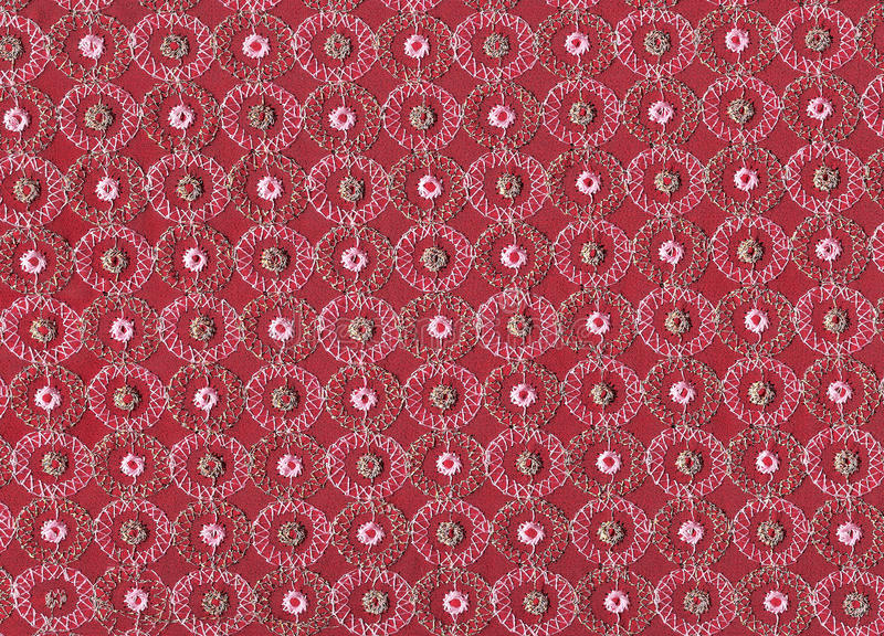 Floral embroidery. Indian fabric with traditional floral embroidery stock photo
