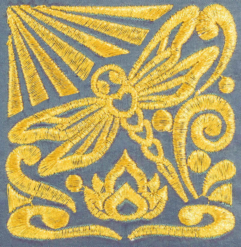 Hand embroidery pattern. Beautiful hand made dragonfly embroidery pattern royalty free stock image