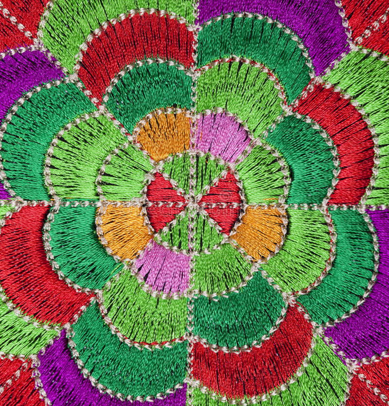 Handmade embroidery. Ethnic colorful embroidery, Asia style stock photos