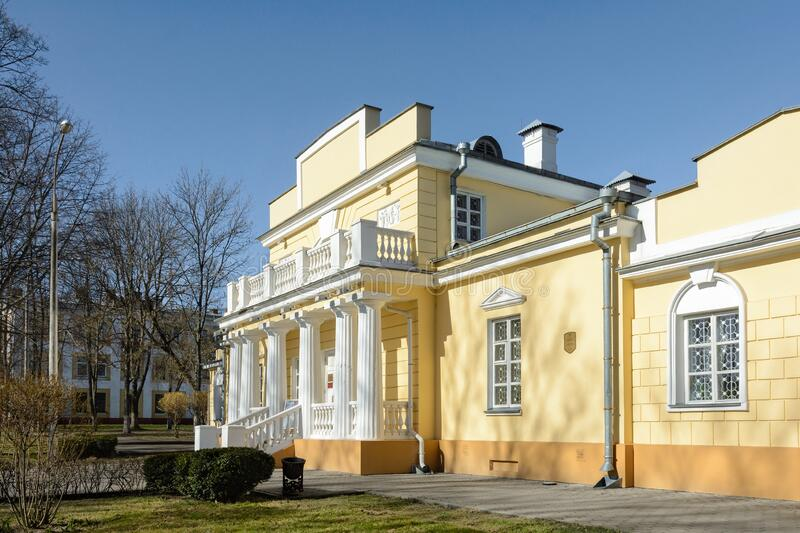 The hunting lodge is a mansion in Gomel, an architectural monument of the first half of the 19th century. House Empire. Museum The. The hunting lodge. Museum of stock photos
