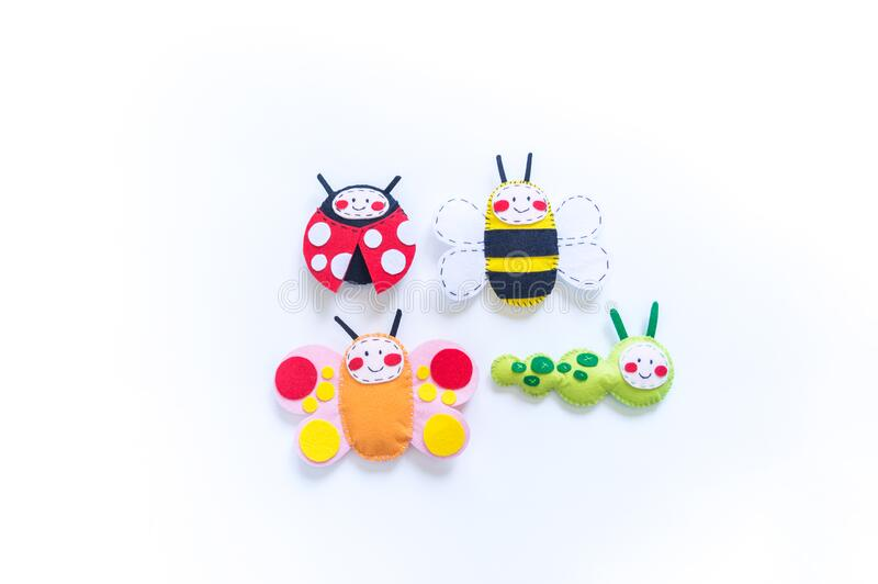 Insect made of felt. Butterfly bee and ladybug toy for baby stock image