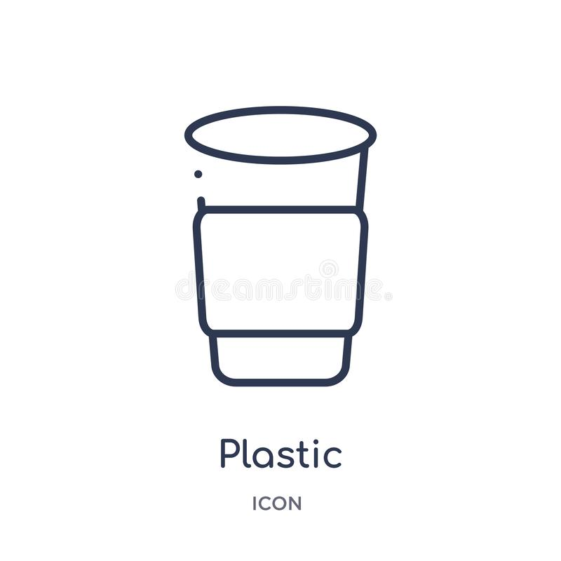 Linear plastic drinking cup icon from Food outline collection. Thin line plastic drinking cup icon isolated on white background. vector illustration