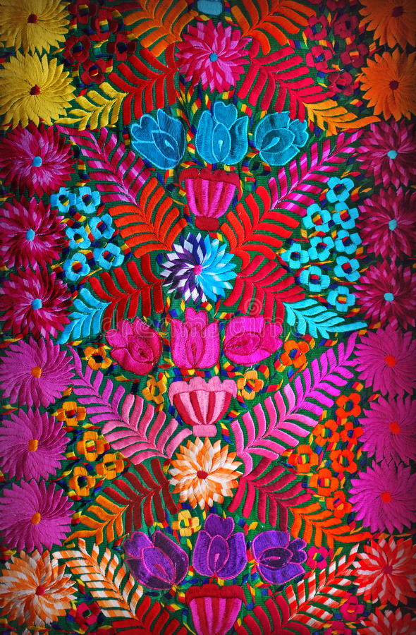 Mexican floral embroidery. Colorful handmade mexican embroidery panel stock photos