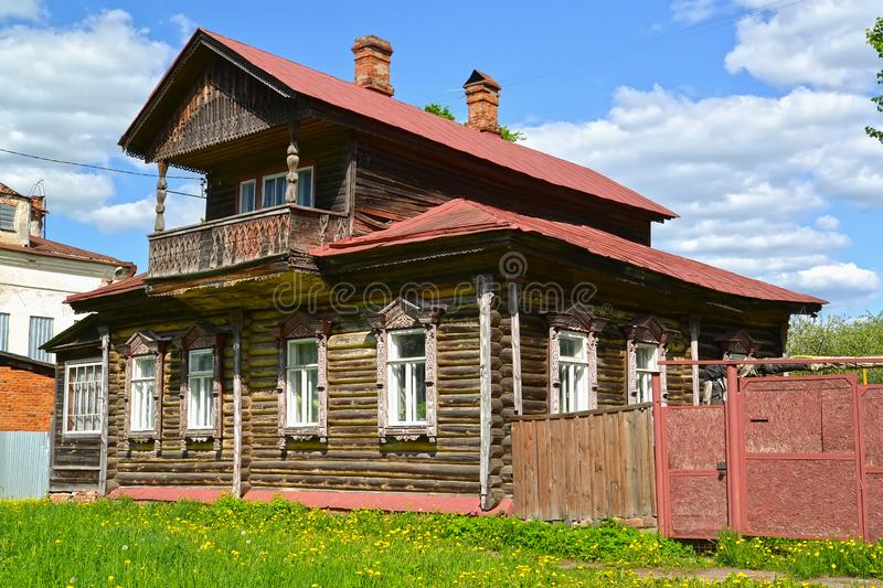 Old wooden house with the mezzanine. Uglich, Yaroslavl region. stock image