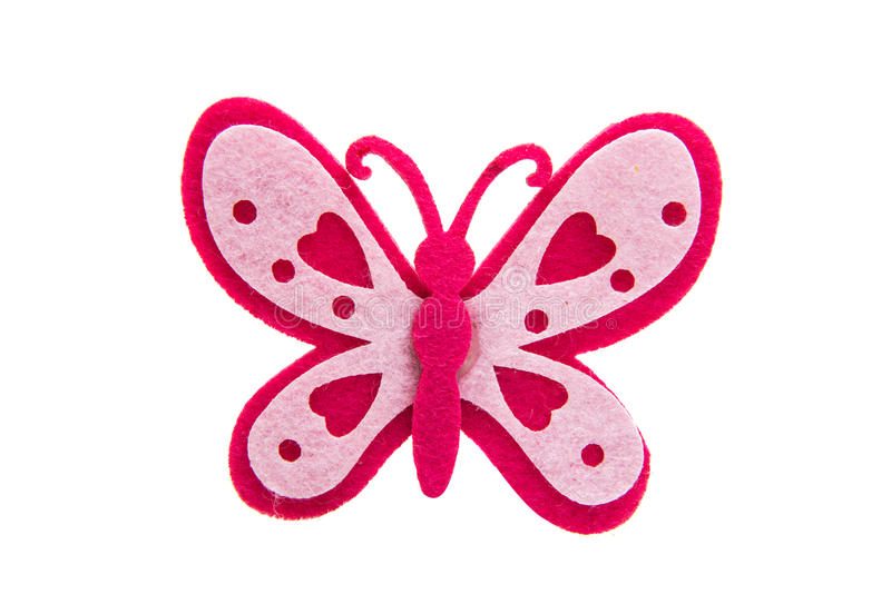 Products made of felt butterfly isolated royalty free stock image