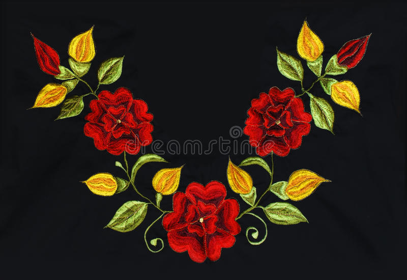Roses embroidery on black. Mexican ornamental roses embroidery on black stock photography