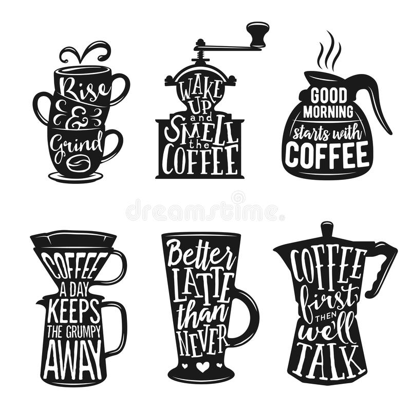 Set of coffee related typography. Quotes about coffee. Vintage vector illustrations. stock illustration