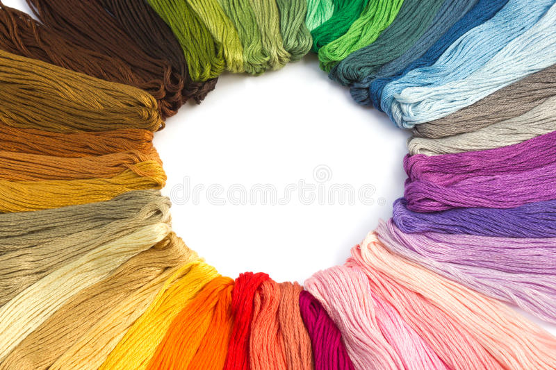Sewing threads for embroidery. On white background royalty free stock images