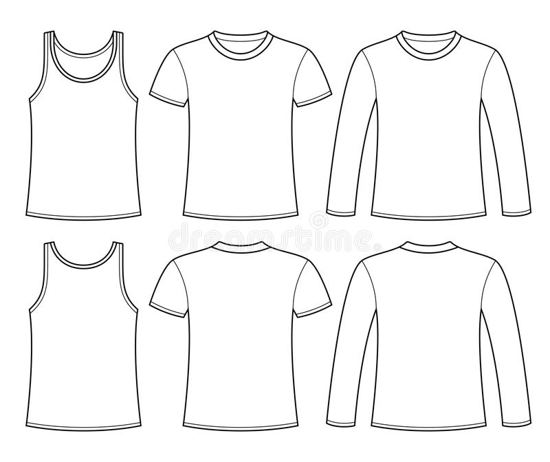 Singlet, T-shirt and Long-sleeved T-shirt template vector illustration