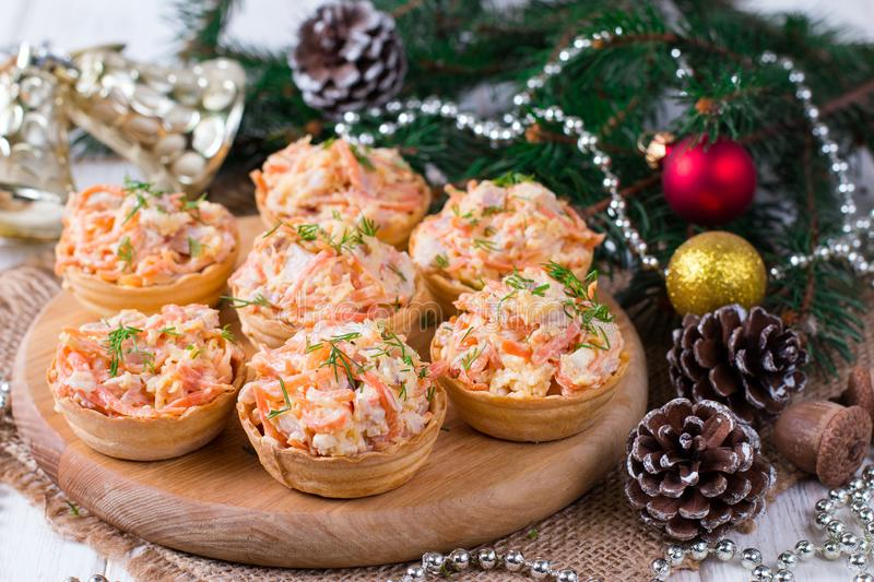 Tartlets with Salad royalty free stock photo