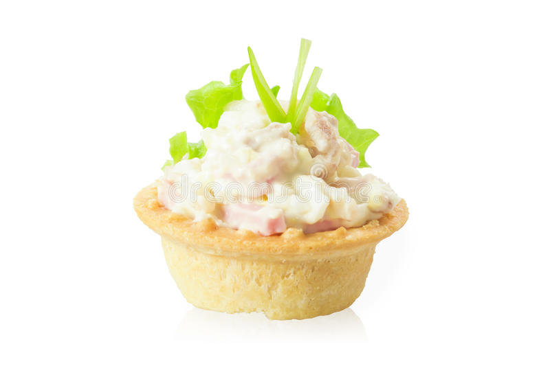 Tartlets with salad stock photos