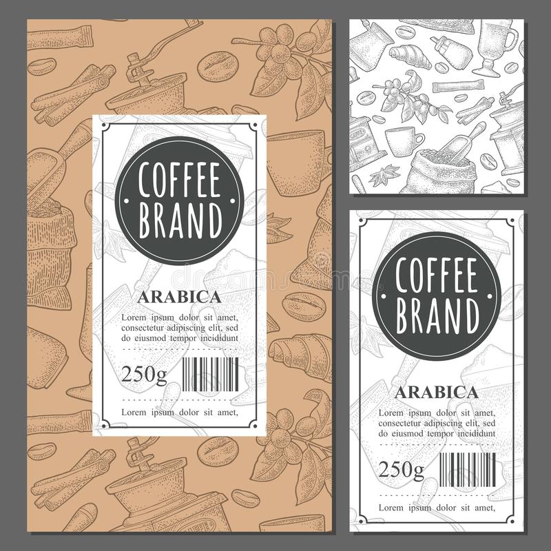 Template label coffee with seamless pattern. Vector vintage monochrome engraving vector illustration