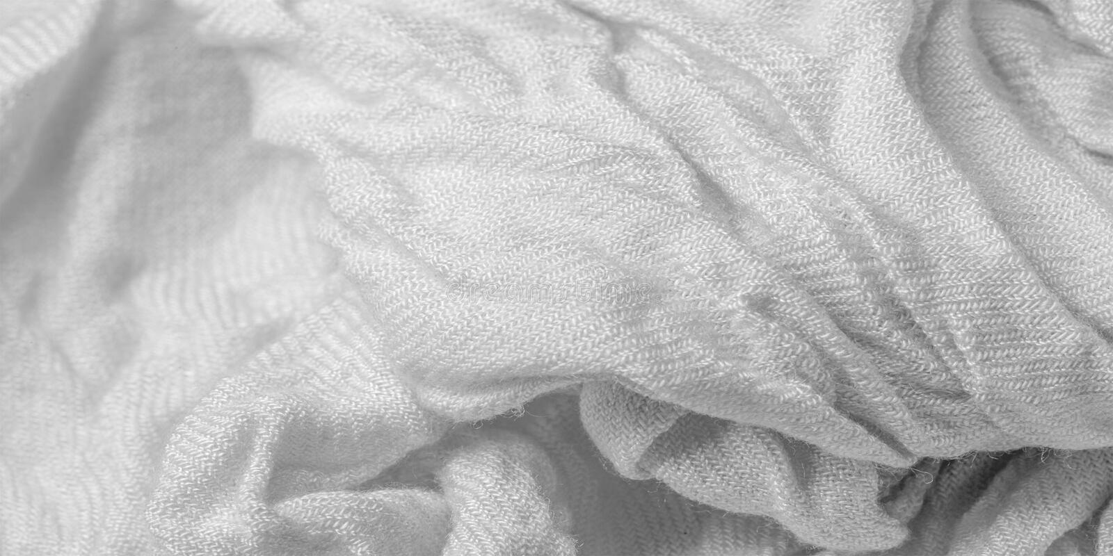 Texture, background, pattern, postcard, silk fabric, white color, isabelline, artificially wrinkled fabric, wrinkled texture,. Texture background pattern stock photography