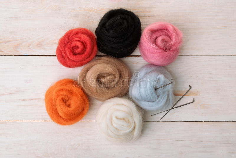 Top view of wool needle felting kit royalty free stock photography