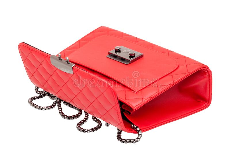 Woman`s handbag with open lock. royalty free stock images