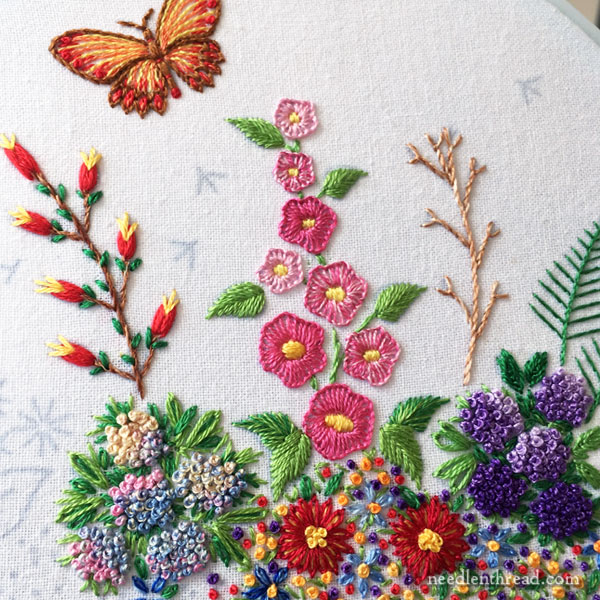Hand Embroidered Garden Border on Flour Sack Towel