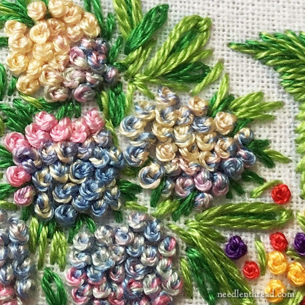French knots on hydrangeas with variegated thread